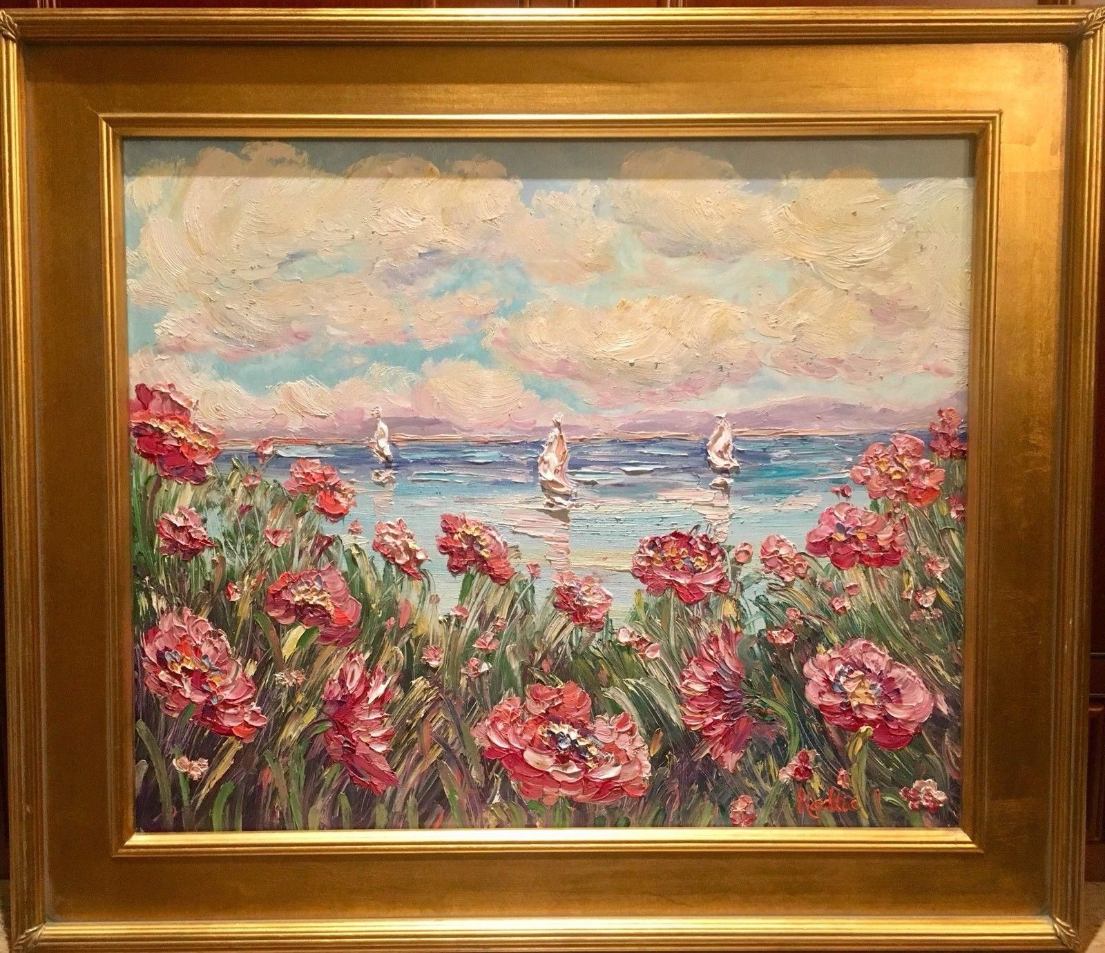 Abstract Wildflowers Seascape\', Original Oil Painting by artist ...