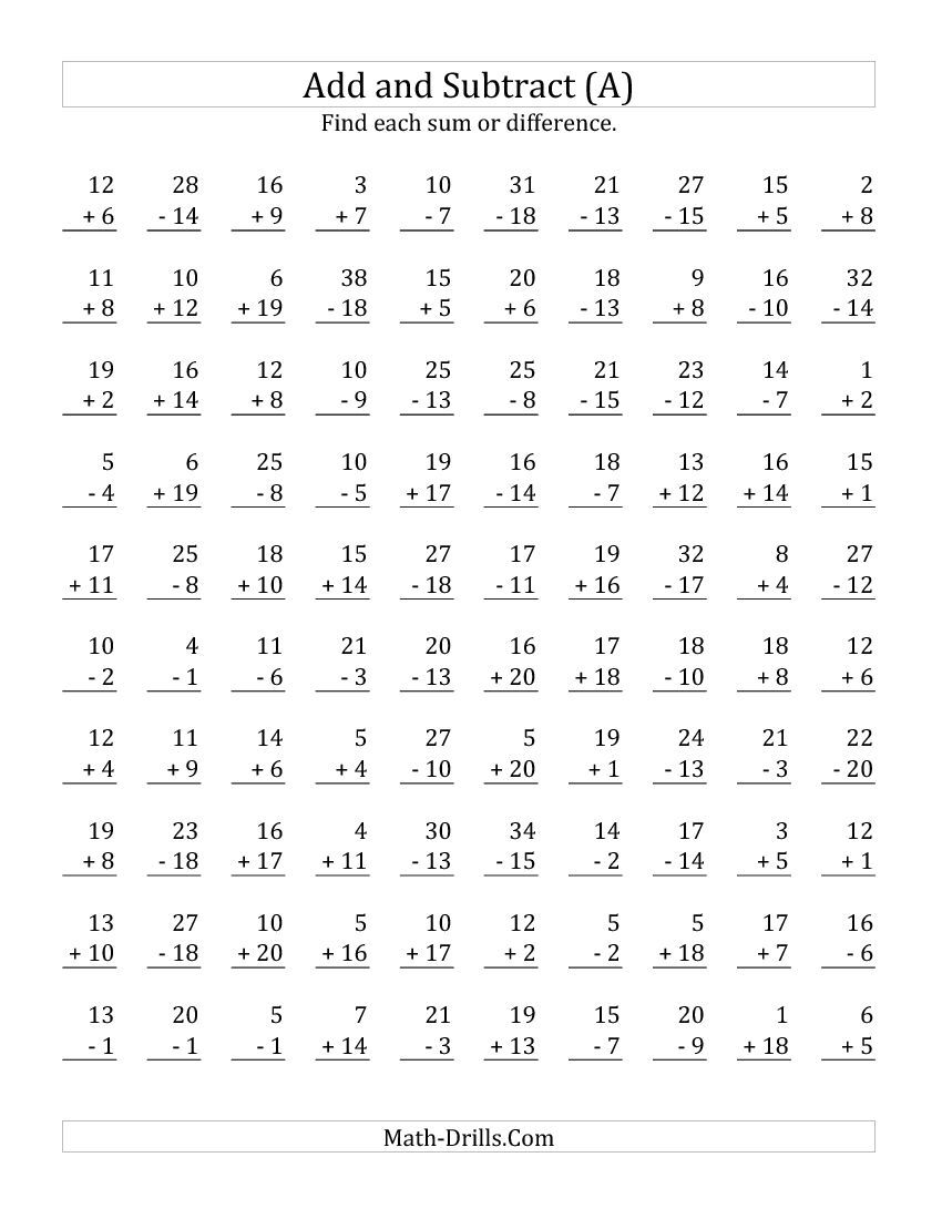 Adding and Subtracting with Facts From 1 to 20 A Math Worksheet – Math Facts Subtraction Worksheets