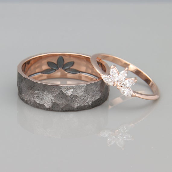 Photo of Marquise Diamonds Wedding Ring Set |  14K Rose Gold His and Hers Wedding Band Set. Lady's ring set with Marquise Diamonds