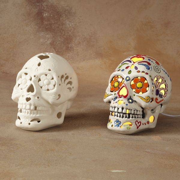 5281 Light Up Sugar Skull Clip In U S Light Kit Included Ceramic Bisque Paint Your Own Pottery Pottery