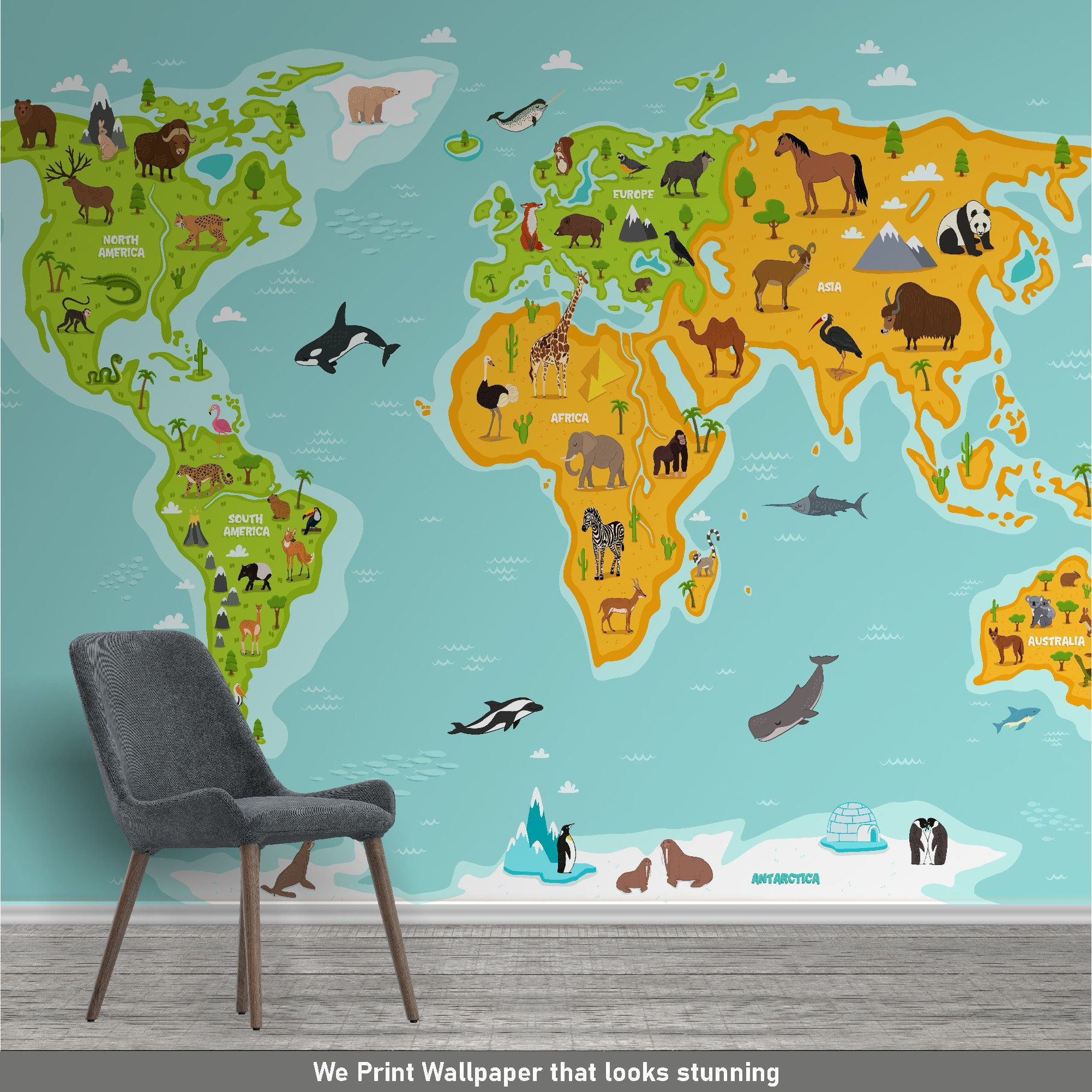 Kids World Map Wallpaper Kids Animal World Map Wallpaper Etsy In 2021 Animal Illustration Kids World Map World Map Wallpaper