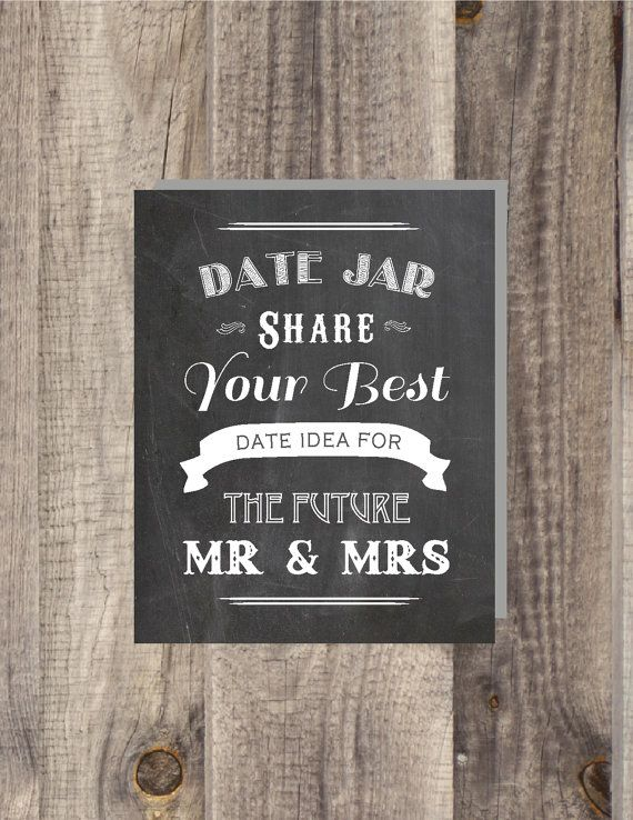 Instant Chalkboard Date Night Jar Share Your Best Ideas For The Future Mr Mrs Bridal Shower Sign Wedding On Etsy 5 00