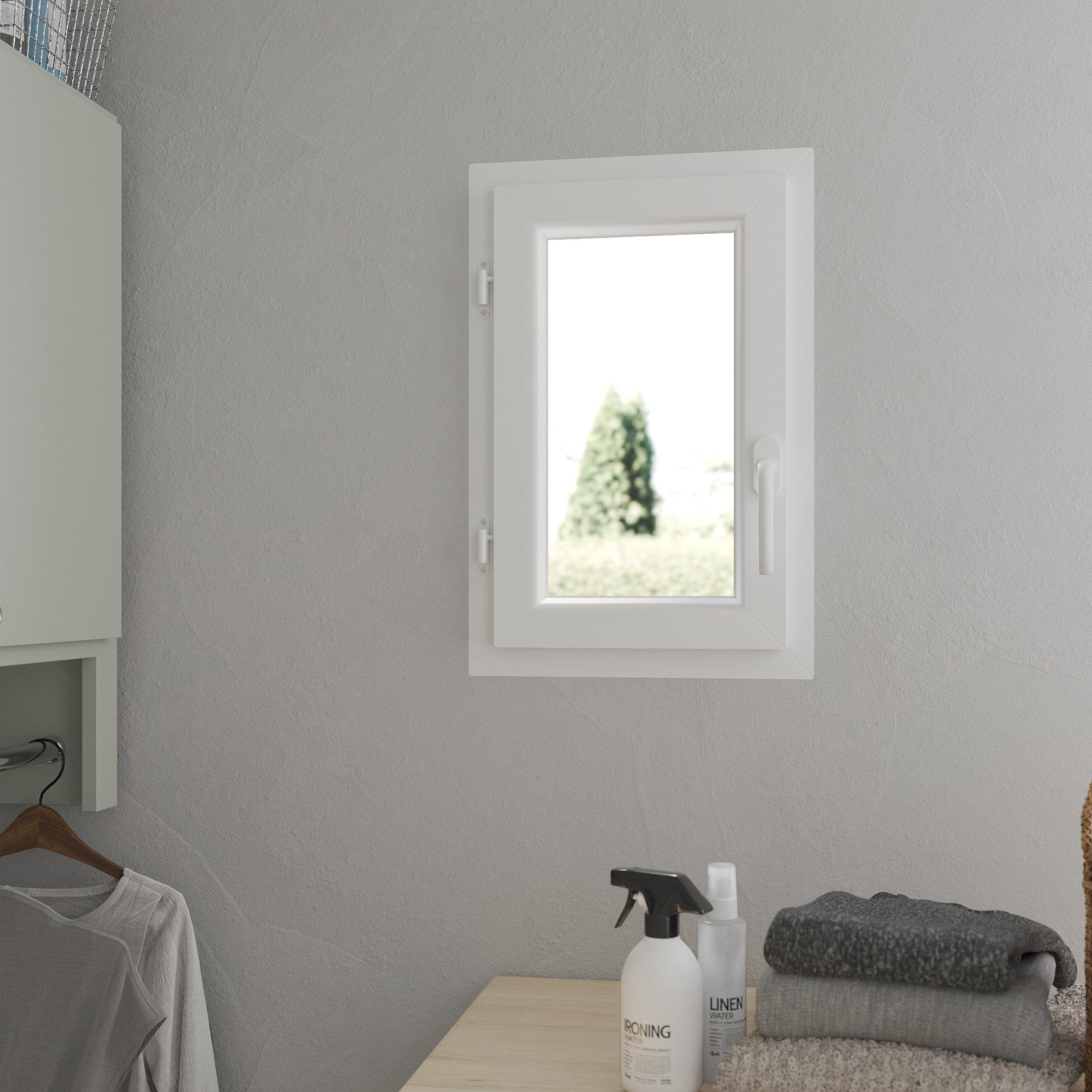 Fenêtre Pvc H60 X L40 Cm Blanc Blanc 1 Vantail Tirant