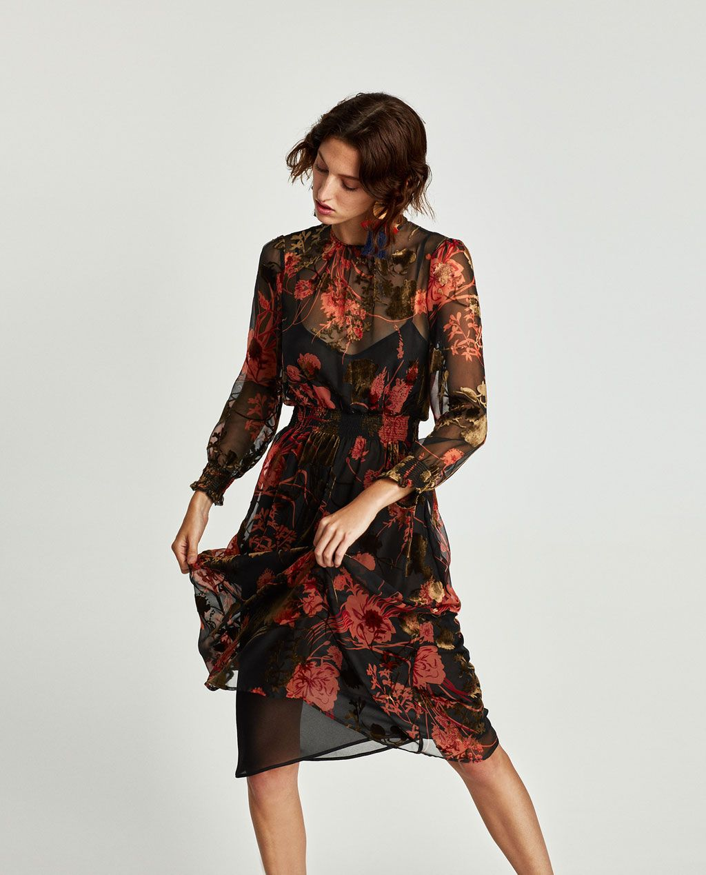 Image 3 of MIDI DRESS WITH ELASTIC WAIST from Zara | pretty things ...