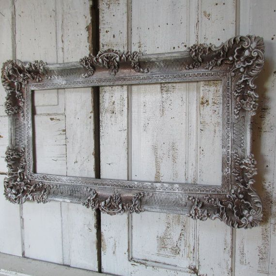 ornate gray frame large hand painted wall hanging antique french farmhouse style accented bronze and white