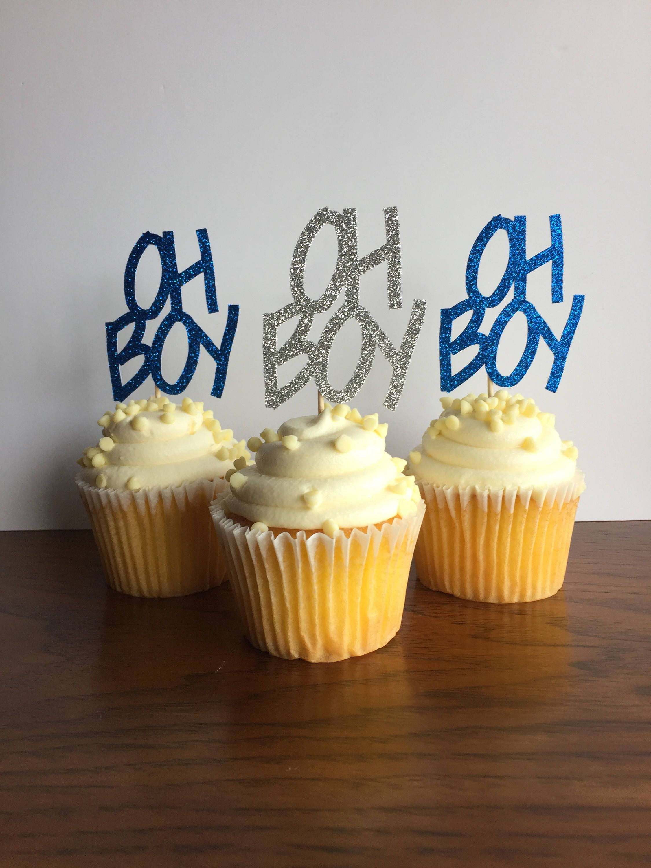 Oh Boy Cupcake Toppers Boy Baby Shower Cupcake Toppers Boy Baby
