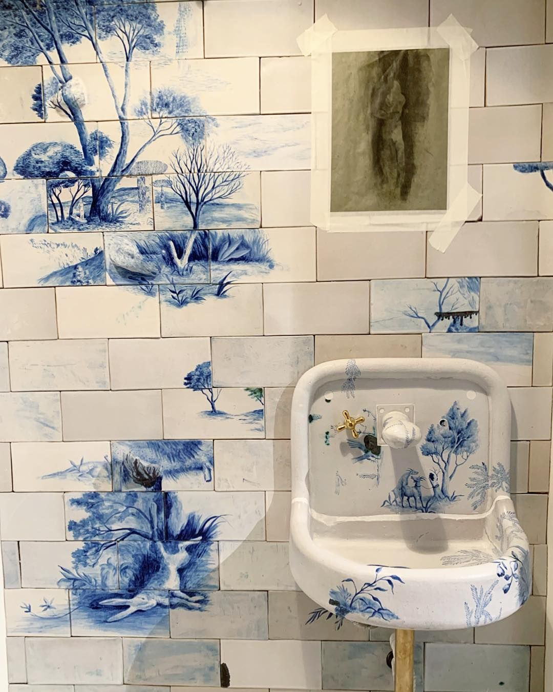 Image Via Whowhatwhit Instagram Original Post Tyler Hays Take On A Delft Bathroom Is An Painting Bathroom Tiles Hand Painted Tiles Bathroom Tile Bathroom