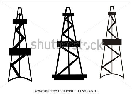 Silhouettes of Rigs for exploration and drilling wells for