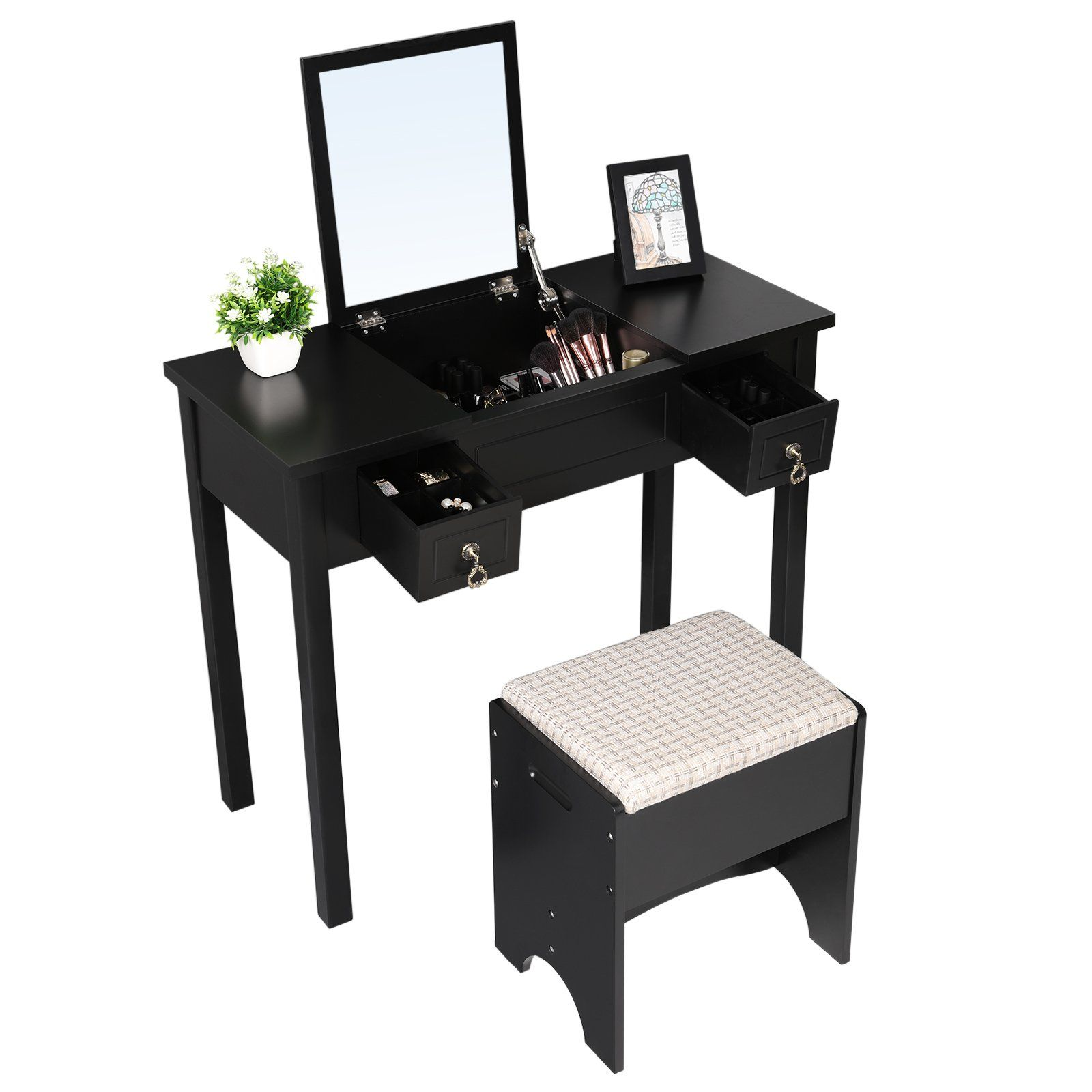 Songmics vanity set with flip top mirror cushioned stool makeup songmics vanity set with flip top mirror cushioned stool makeup dressing table 2 drawers 3 removable organizers black geotapseo Choice Image