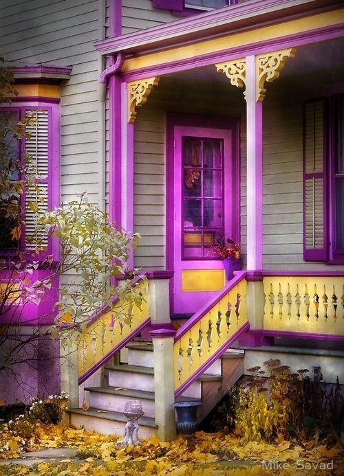 Yellow And Purple House Victorian Homes Purple Home