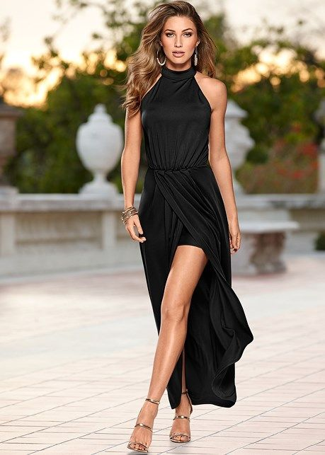 20c77da270b Long drape dress | Fashion | Draped dress, Dresses, Strappy sandals