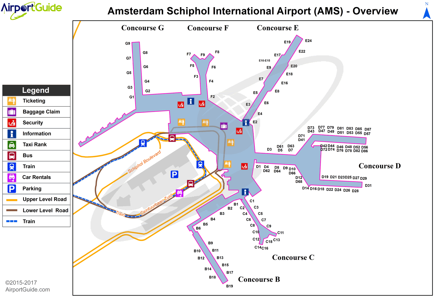 Amsterdam Amsterdam Schiphol Ams Airport Terminal Map Overview Airport Map Map Airport