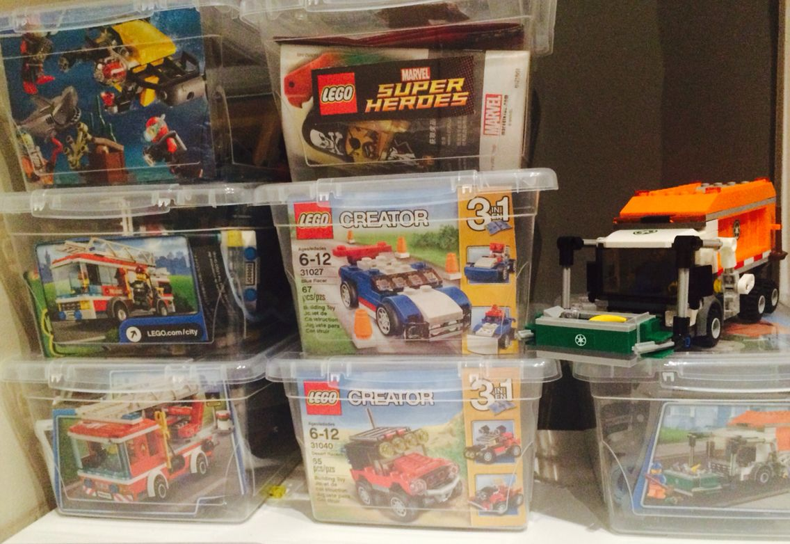 Lego Set Organization Dollar Store Bins To Keep The Lego Sets Organized So They Can Be Built More Than On Lego Set Organization Lego Storage Lego Storage Diy