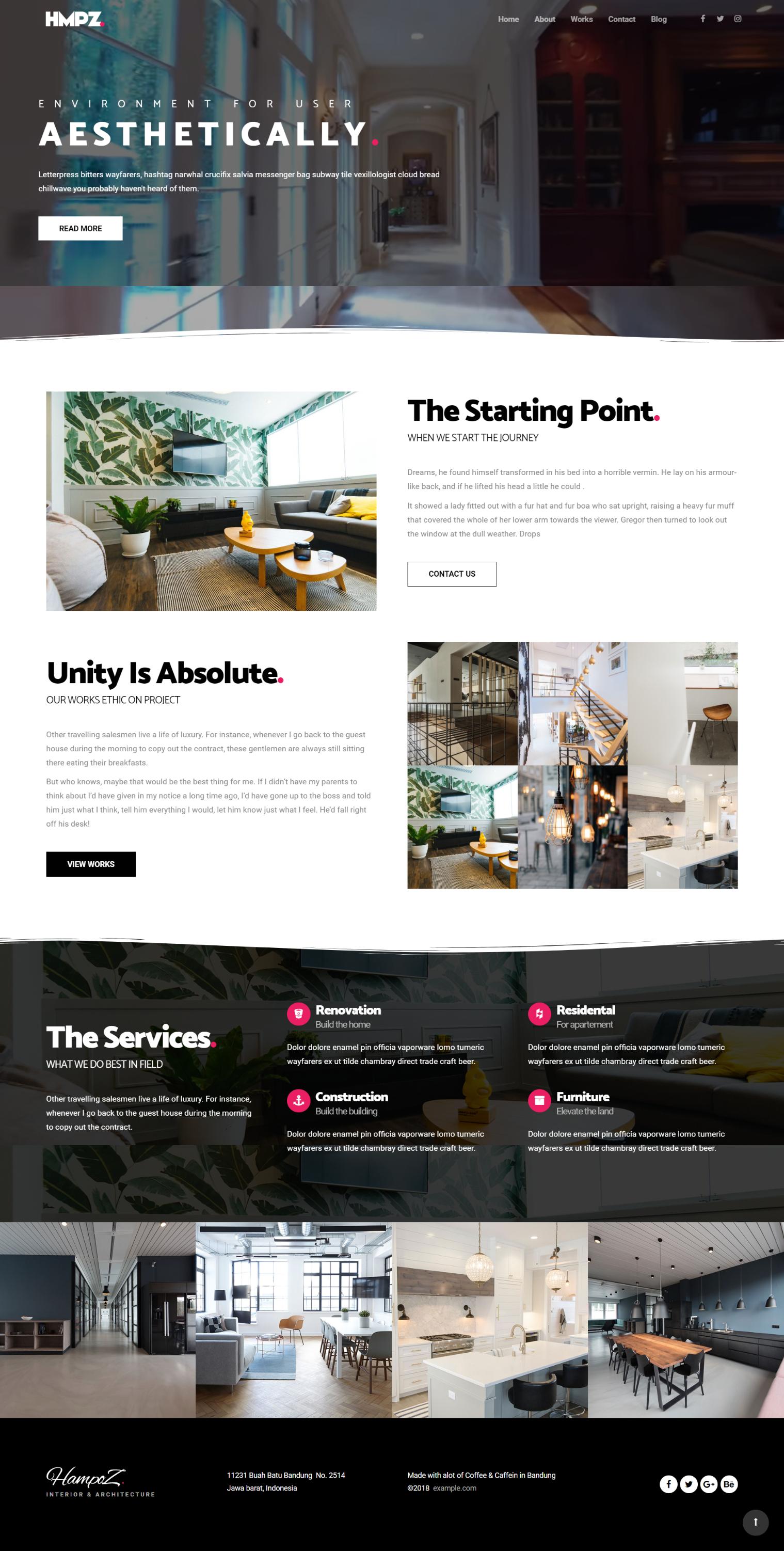 Hampoz Responsive Interior Design Architecture Creative Minimal Wordpress Arh Best Interior Design Websites Interior Design Template Web Design Inspiration
