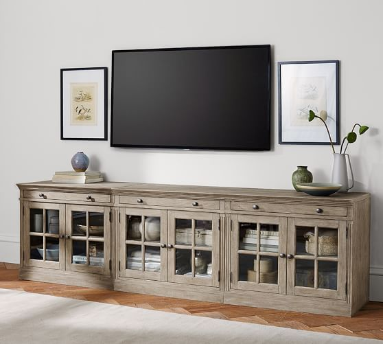 Livingston Large Tv Stand With Glass Doors Gray Wash Tv Stand