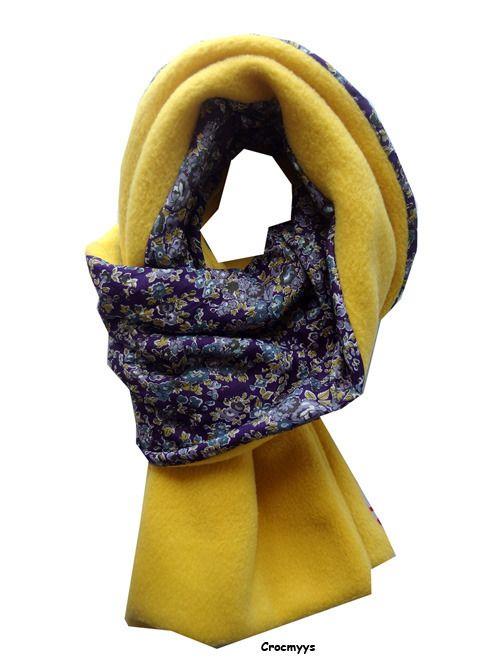 Echarpe liberty tatum violet doublée polaire moutarde   Echarpe, foulard,  cravate par crocmyys 81f8e07fce9