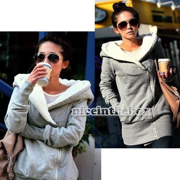 Fashion Gray Black Korea Women Hoodie Jacket Coat Warm Outerwear Hooded Zip B98B   eBay