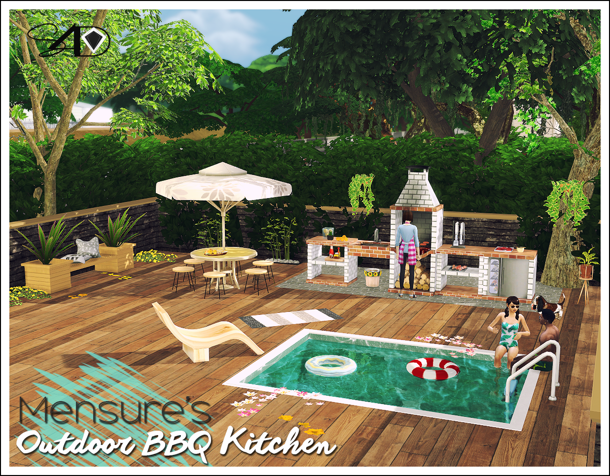 3t4 Mensure BBQ Outdoor Kitchen Set   Sims 4 Designs ...