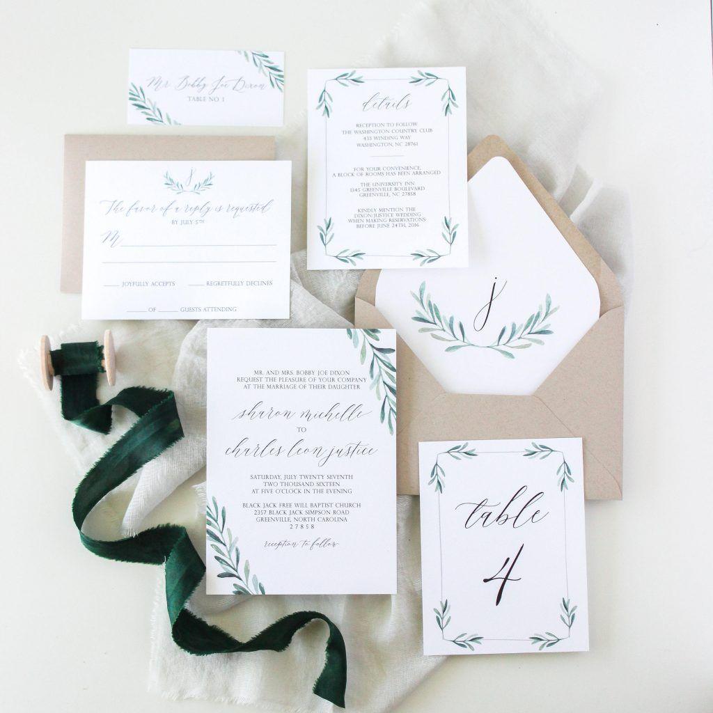 Modern Greenery Wedding Invitation Suite by Workman Creative Co ...