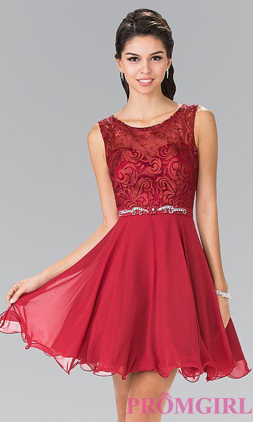 ae67e8ad0d Short Semi-Formal Chiffon Dress with Jewels | pretty | Prom dresses ...