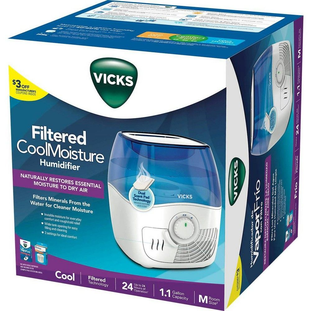 Vicks Filtered Cool Moisture Humidifier White Cool