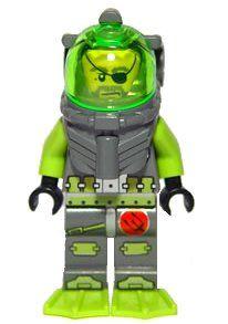 LEGO Atlantis Diver Bobby Buoy Minifigure 8080 Neon Green Helmet Visor Genuine