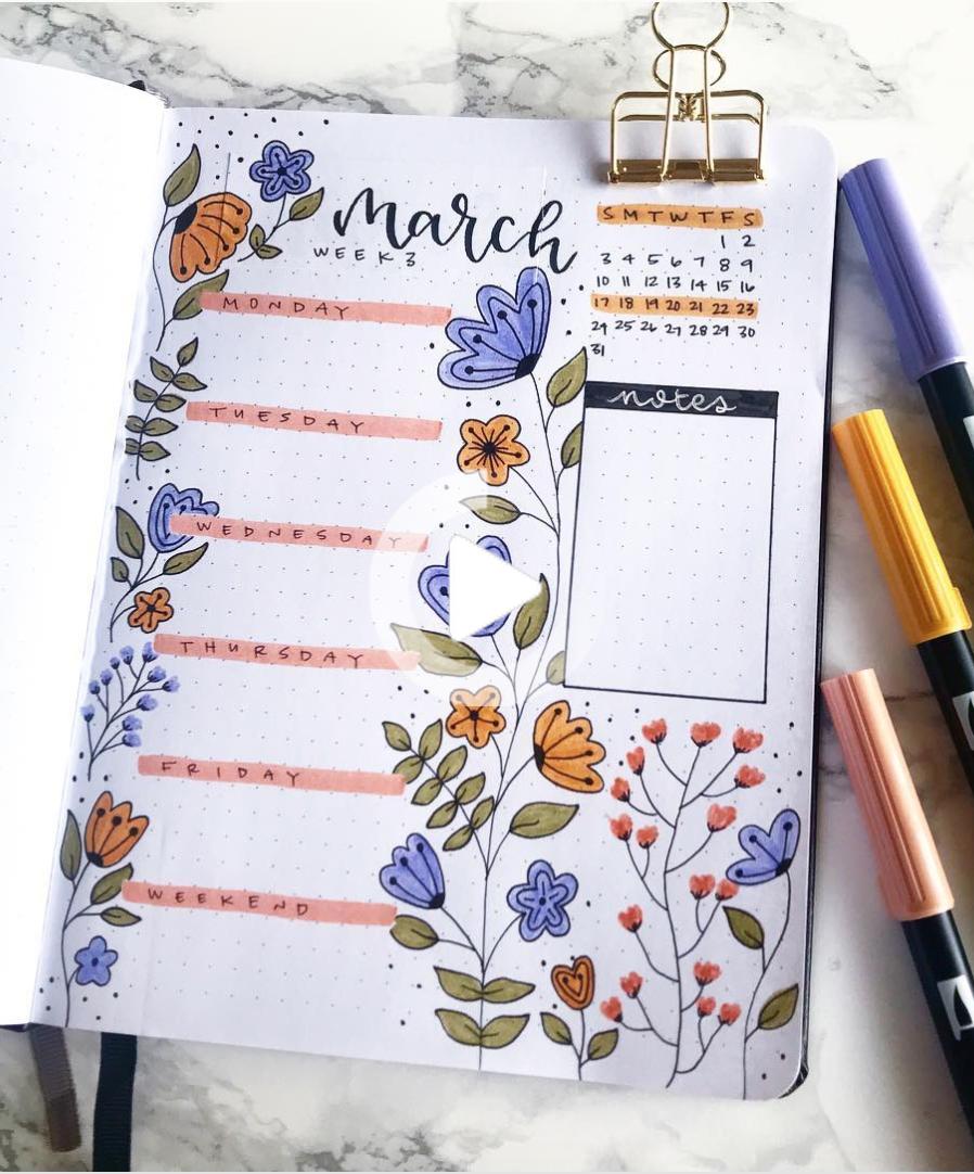 Floral March bullet journal   Bullet journal art, March bullet ...