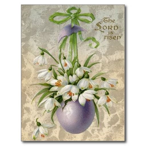 Vintage The Lord Has Risen Easter Egg Cross Easter Post Cards
