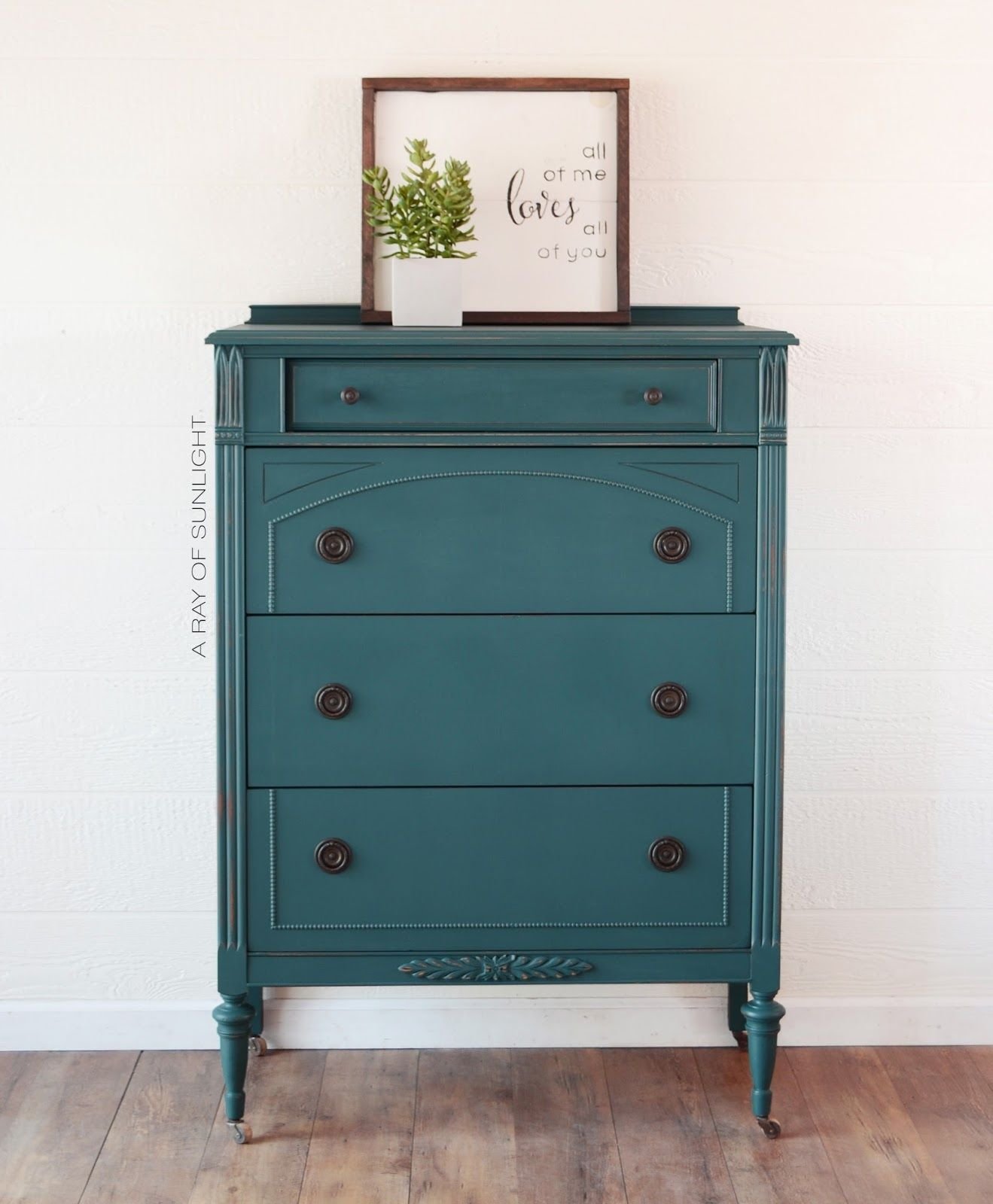 The Most Popular Paint Colors A Ray Of Sunlight Teal Furniture Painted Furniture Colors Teal Painted Dressers