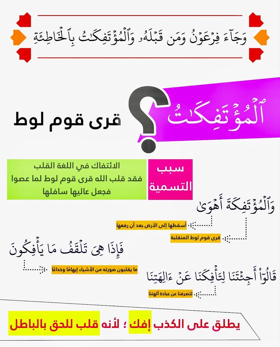 والمؤتفكات مرتان في القرآن التوبة ٧٠ الحاقة ٩ In 2021 Islam Facts Islamic Quotes Quran