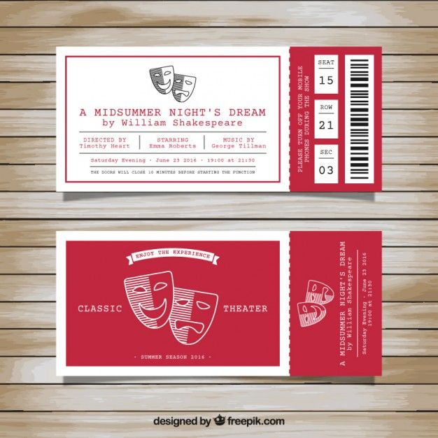 Tickets for classic theater Free Vector | POP 海报 | Pinterest