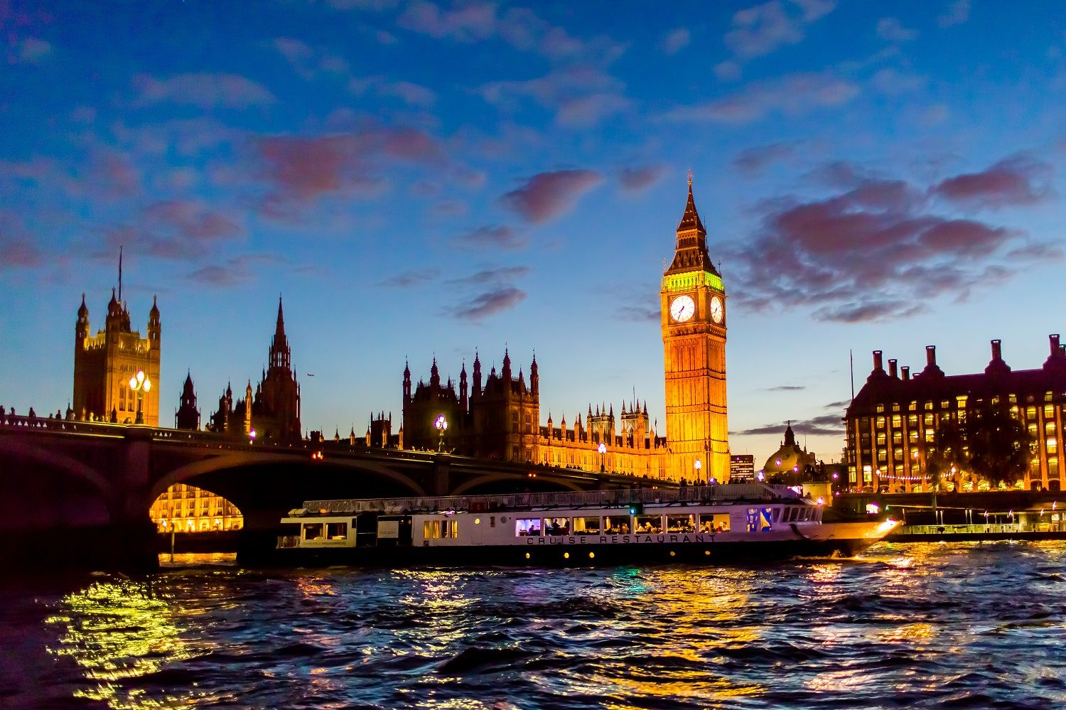 Evening cruise on the River Thames London