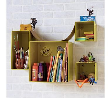 Kids Storage: Colorful Iron Wall Bins - great place to display cute ...