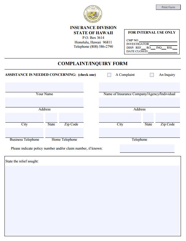 Hawaii Insurance Commissioner Complaint Company Address