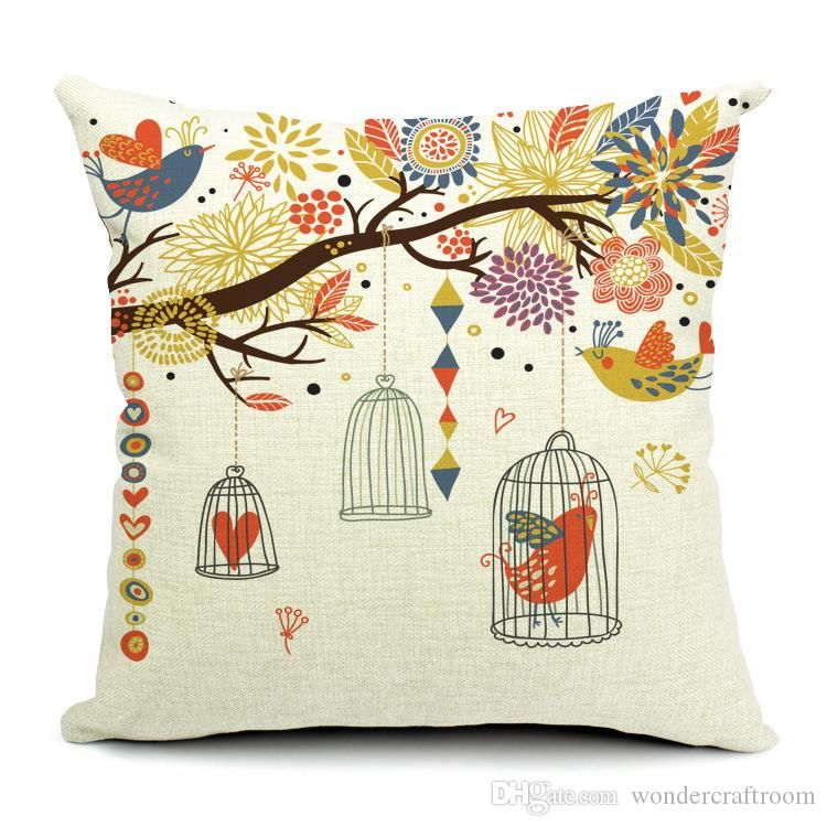 Hand Painting Rustic Floral Tree Owl Bird Cage Love Pillow Case Cushion Cover Decorativ Decorative Throw Pillow
