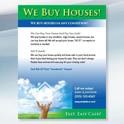 Sky House Real Estate Flyer Design For Investors Real Estate Flyers We Buy Houses Real Estate Business