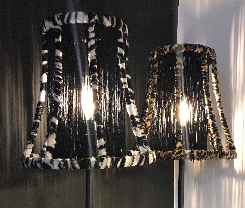 Handmade Animal Print Fringed Tablelamp Zebra Or Leopard Print