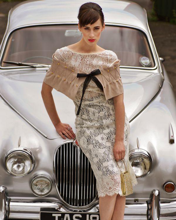 Vintage lace dress 50s cars