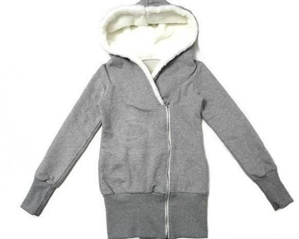 Casual Hooded Long Sleeve Fleece Lining Zipper Opening Hoodies For ...