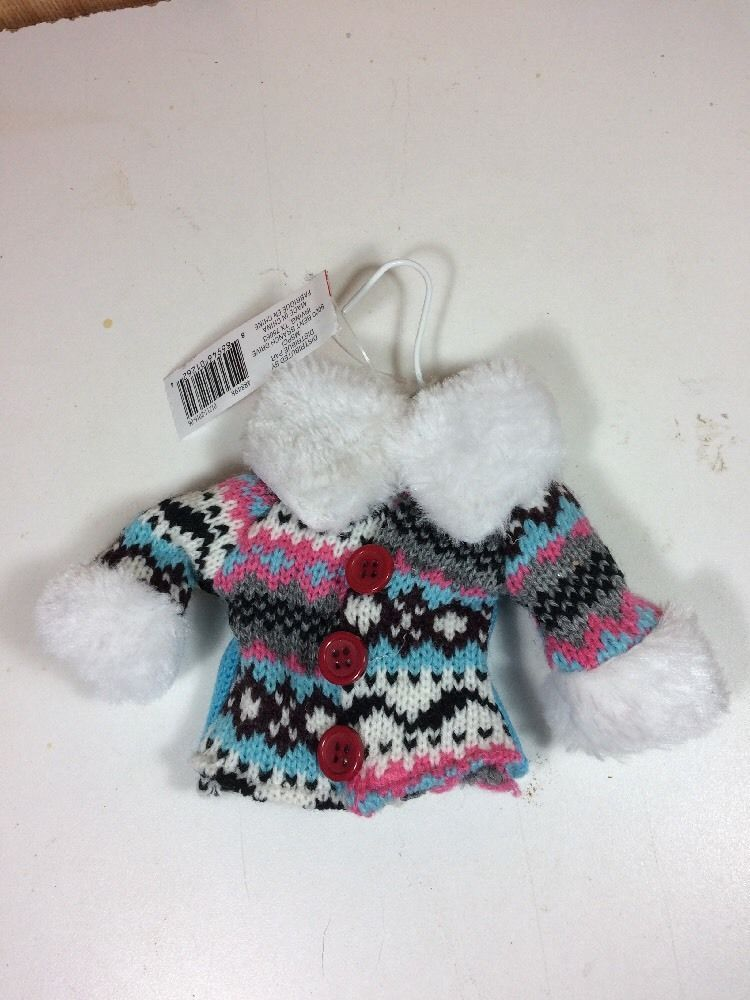 New Celebrate It Ugly Christmas Blue Knit Sweater Ornament On Mini