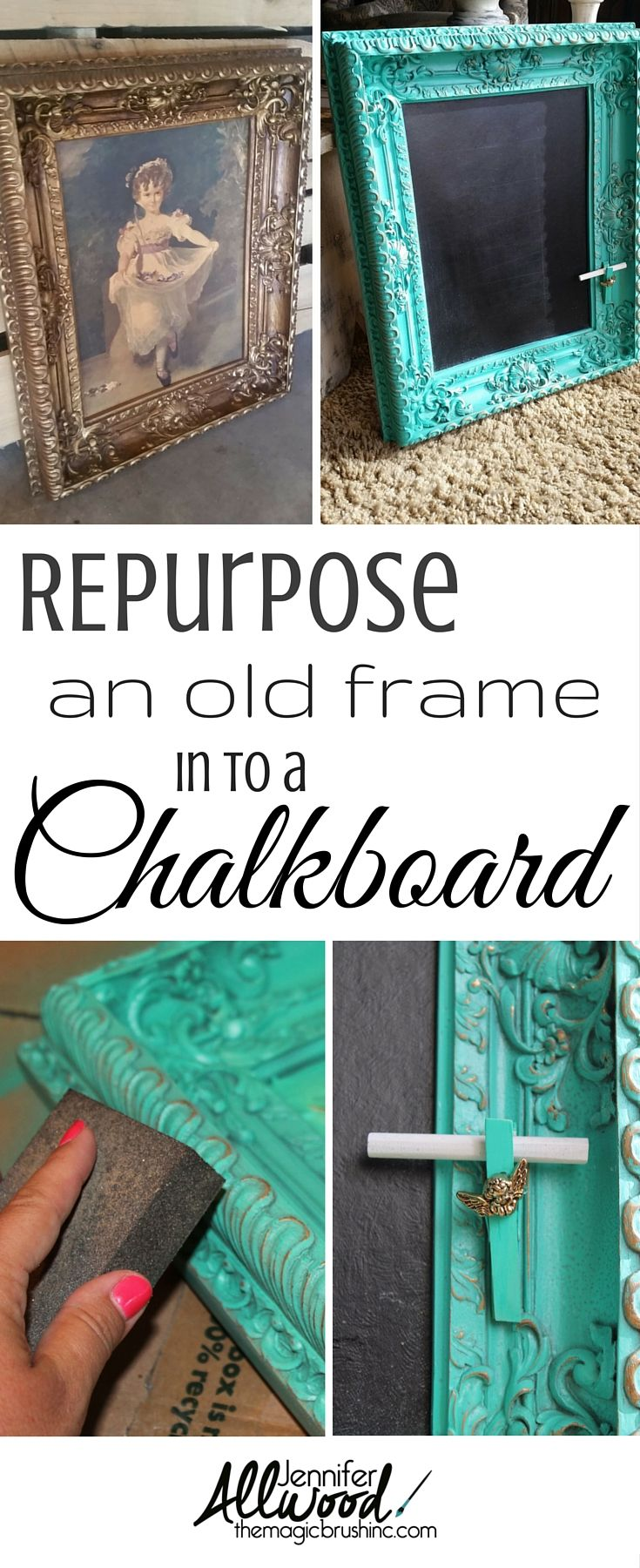 Ideas : Repurpose your thrift store art & frame into a stylish chalkboard! Makes an awesome gift! More DIY projects at theMagicBrushinc.com
