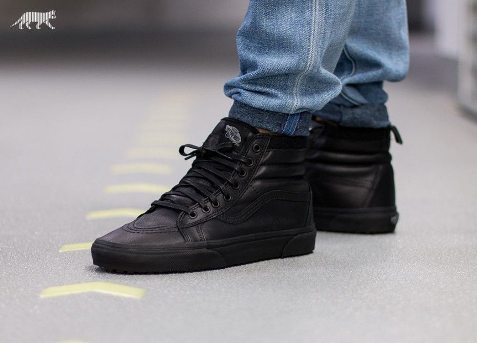 vans sk8 hi mte black all black shoes shoe boots new shoes pinterest