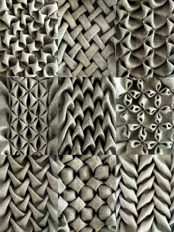 love these gorgeous examples of fabric manipulation different types of smocking using soft. Black Bedroom Furniture Sets. Home Design Ideas