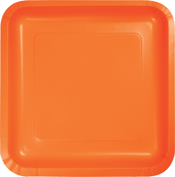 Sunkissed Orange Square Paper Plate Lunch 7u0027u0027 ...  sc 1 st  Pinterest : square paper plates - pezcame.com