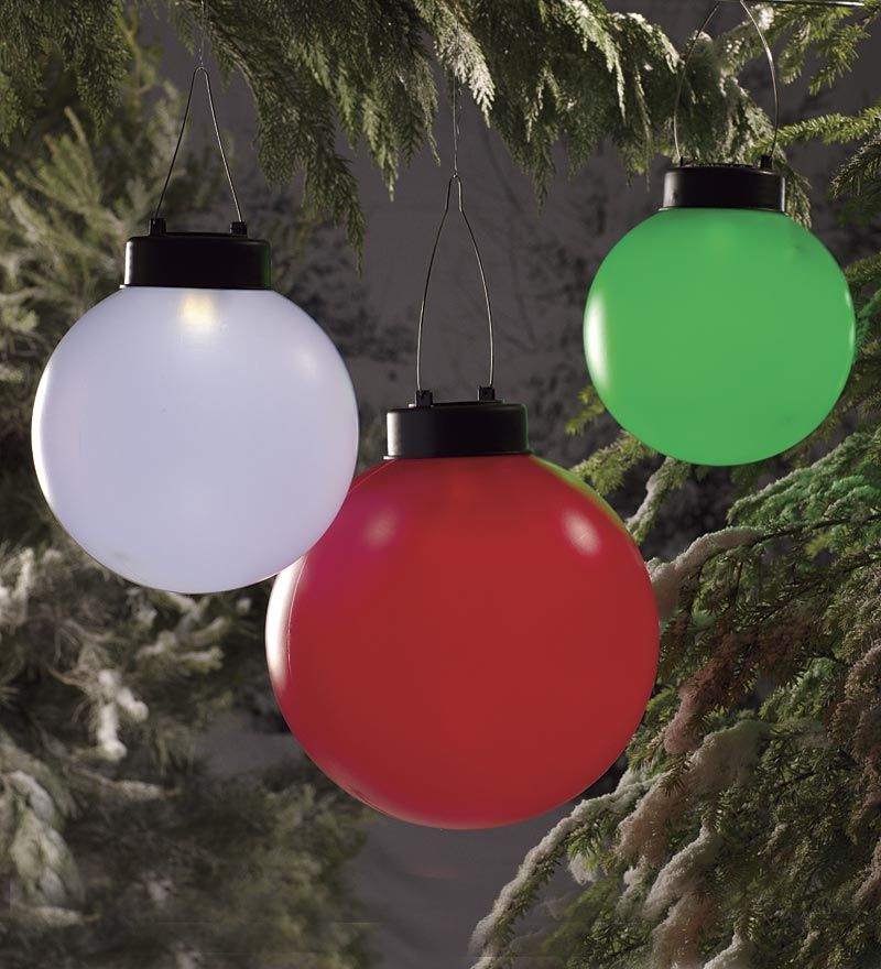 Solar Oversized Hanging Ornaments Take The Worry Out Of Holiday Dec Large Outdoor Christmas Ornaments Decorating With Christmas Lights Christmas Light Displays