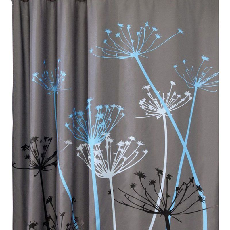 Dandelion Pattern 3d Waterproof Polyester Shower Curtain With 12