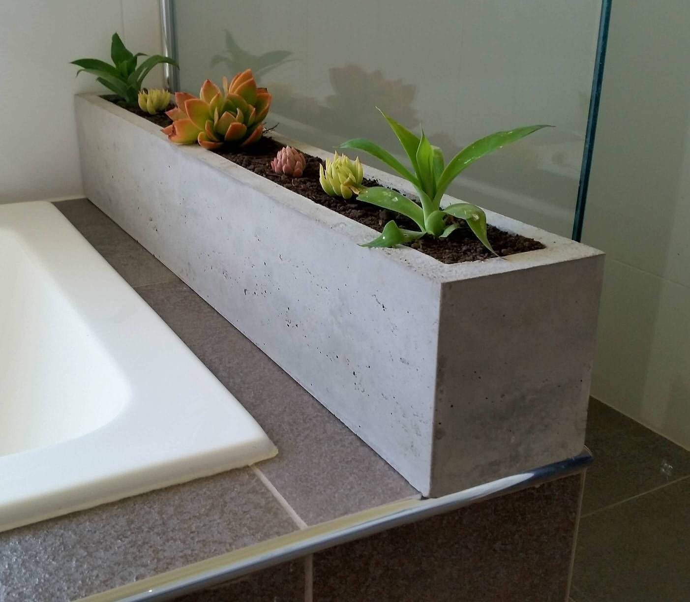 Polished concrete planter; large rectangular 900mm