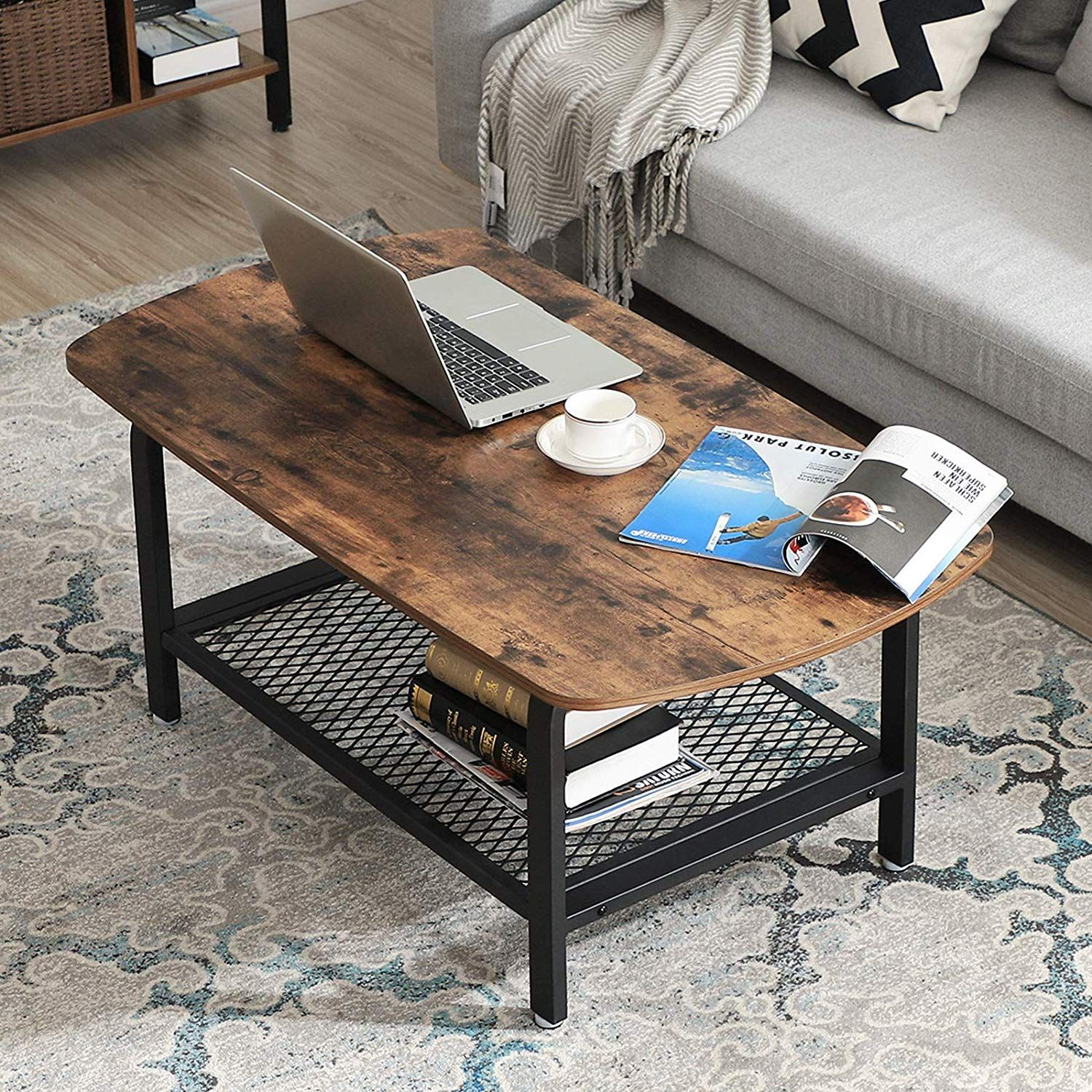 Vintage Coffee Table Wooden Table With Storage Mesh Shelf Wooden Cocktail Table Coffee Table Vintage Coffee Table [ 1500 x 1500 Pixel ]