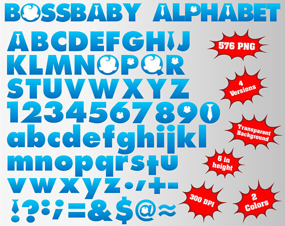 Boss Baby Full Alphabet Numbers And Symbols 576 Png 300 Boss Baby Boss Birthday Baby Boy 1st Birthday Party