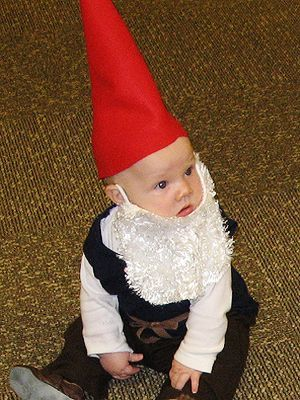 DIY Storybook Character Halloween Costumes #gnomecostume Garden Gnome Make a cone hat out of felt to create a gnome costume for your little one.